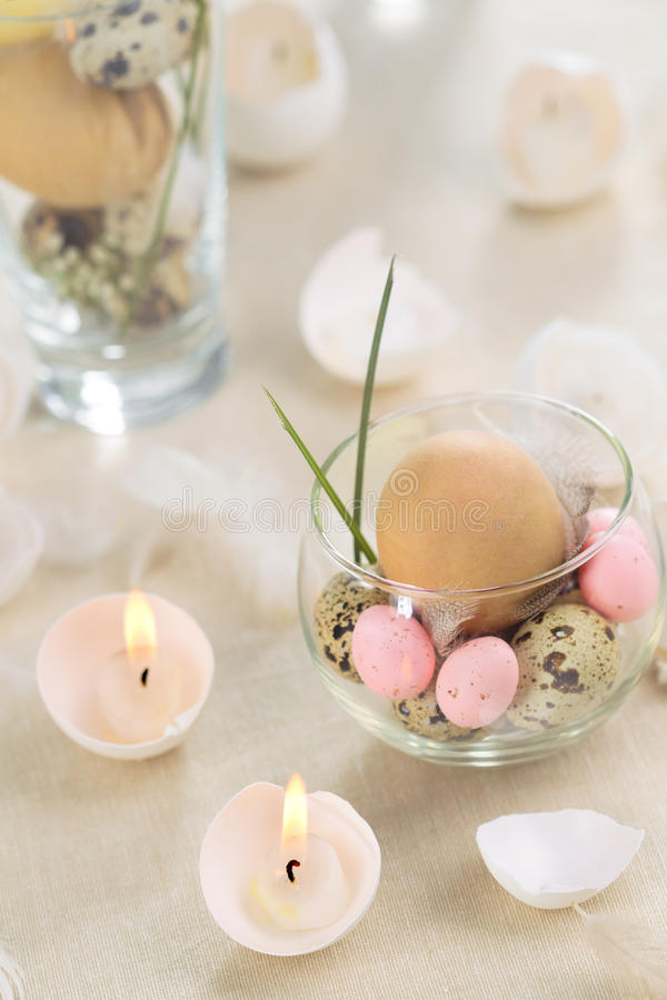 Easter Eggs-candles Stock Photos