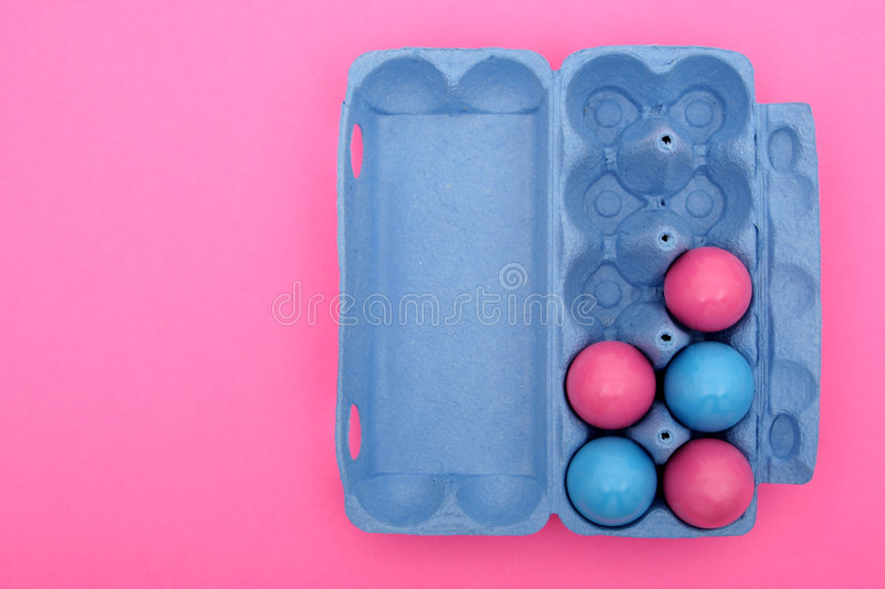 Download Easter eggs in carton stock photo. Image of decorated, pink - 522912