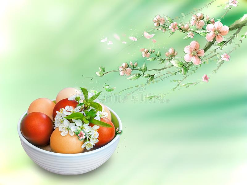 Easter eggs in a ceramic vase on a beautiful background. stock photography
