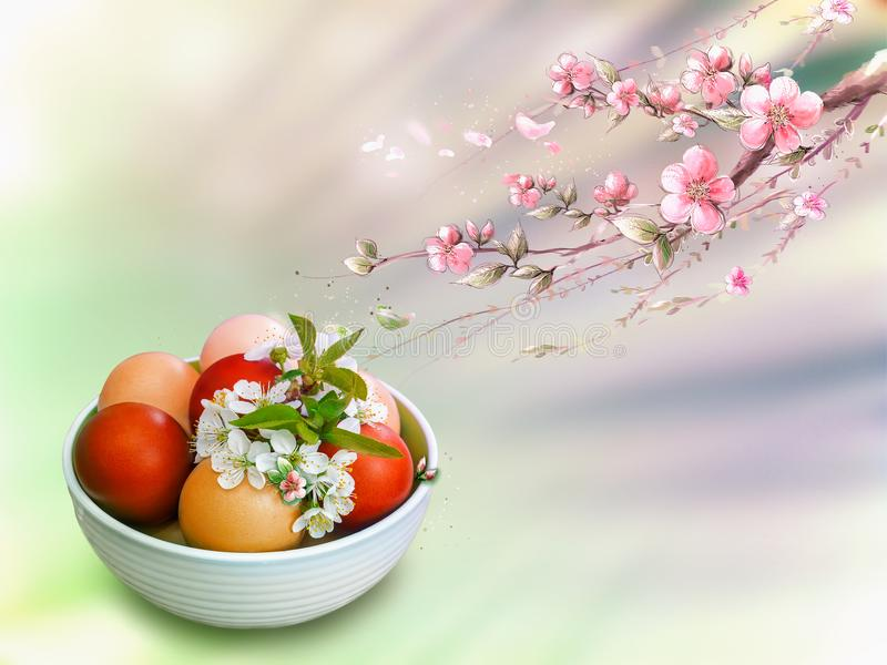 Easter eggs in a ceramic vase on a beautiful background. royalty free stock photos