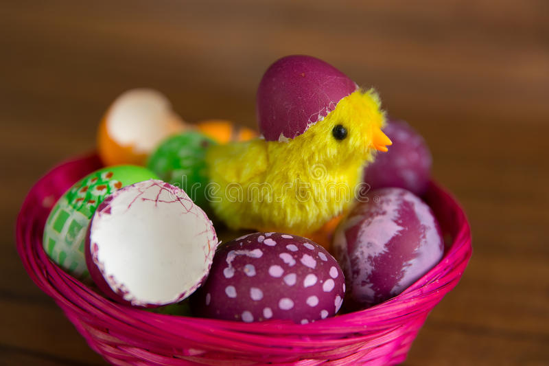 Easter Eggs And Chick Hatching From Shell Closeup Stock Image
