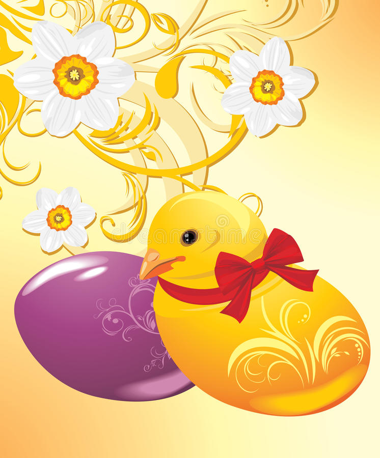 Download Easter Eggs And Chick On The Ornamental Background Stock Vector - Image: 24074389