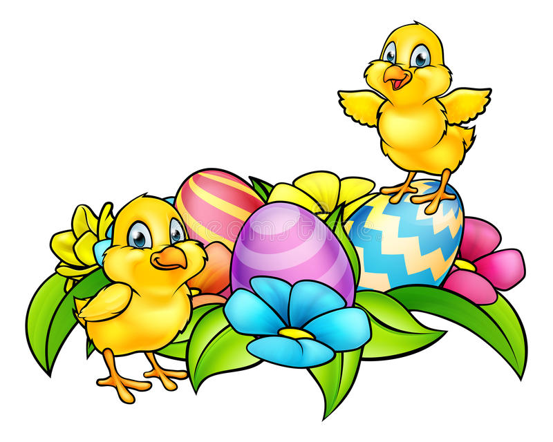 Easter Eggs and Chicks. Cartoon Easter Chicks, Easter Eggs and spring flowers vector illustration