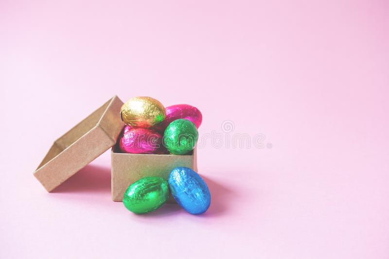 Easter Eggs chocolates in a little box.  royalty free stock photos