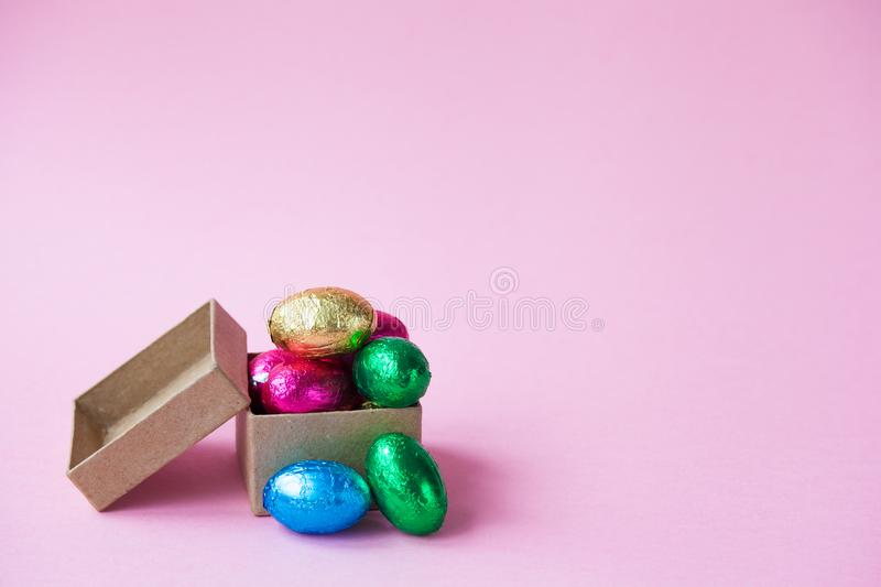 Easter Eggs chocolates in a little box.  stock photos