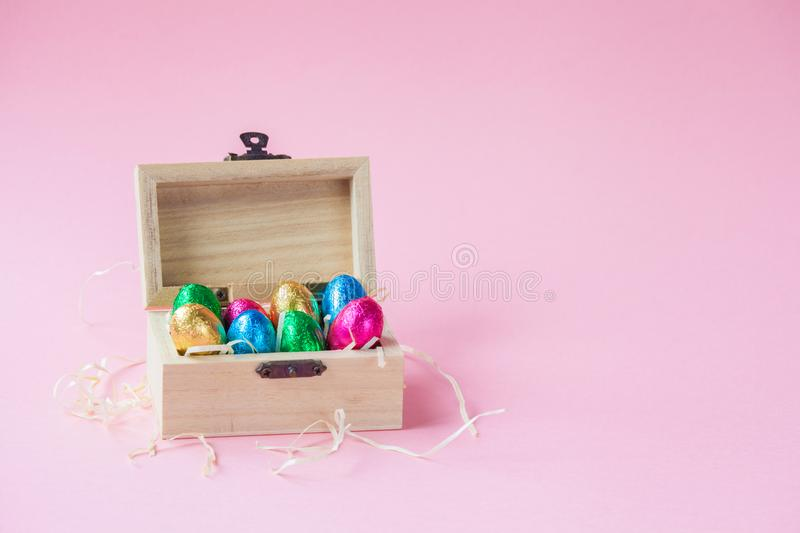 Easter Eggs Chocolates in a wooden coffer.  stock photos