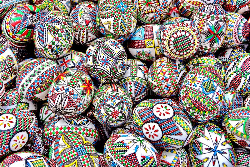 Easter eggs, Romania. Close up of various traditional painted Easter eggs in Romania stock photography