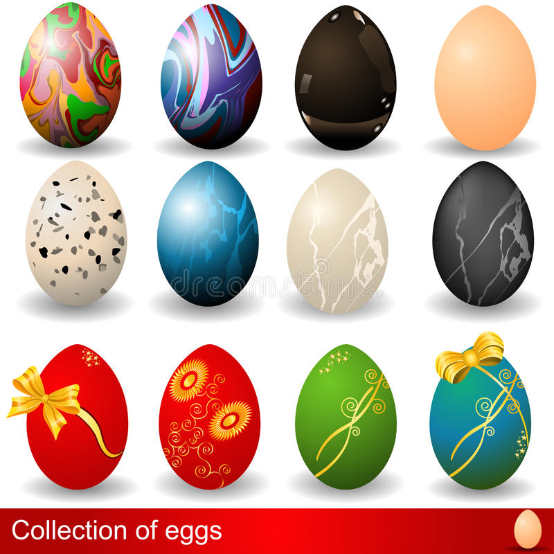 Easter eggs collection. Illustration of Easter eggs in different colors royalty free illustration