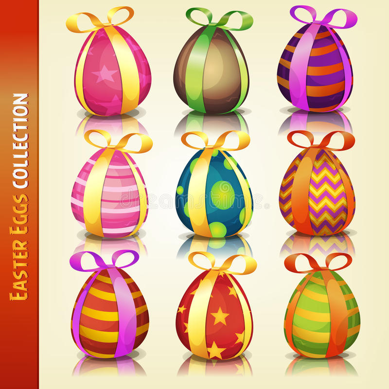 Easter Eggs Collection. Illustration of a set of cartoon appetizing decorated easter eggs, for spring april and march season holidays vector illustration