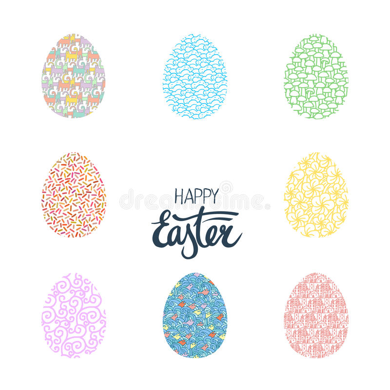 Easter eggs collection. Decorative design elements easter egg and hand drawn lettering, greetings card for easter vector illustration