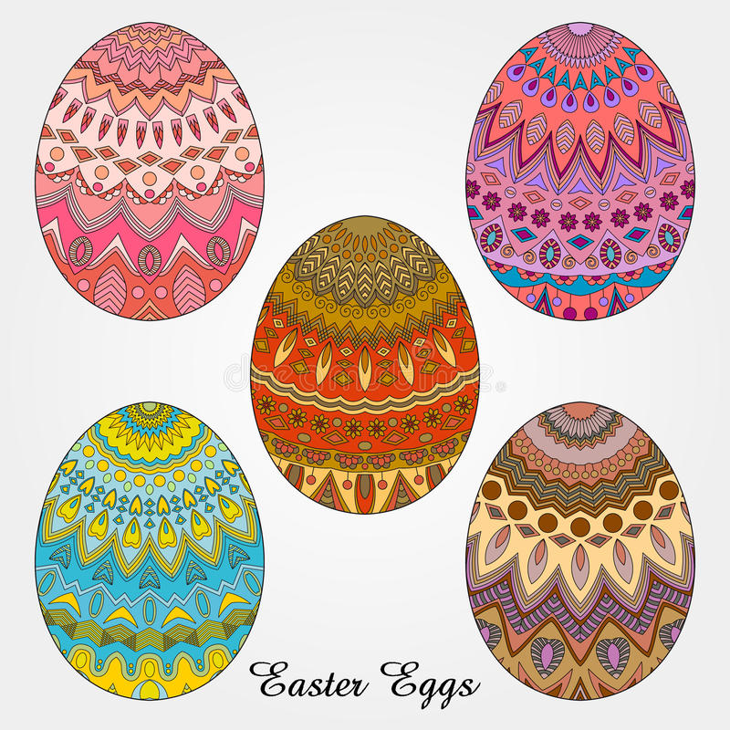 Easter eggs collection stock illustration