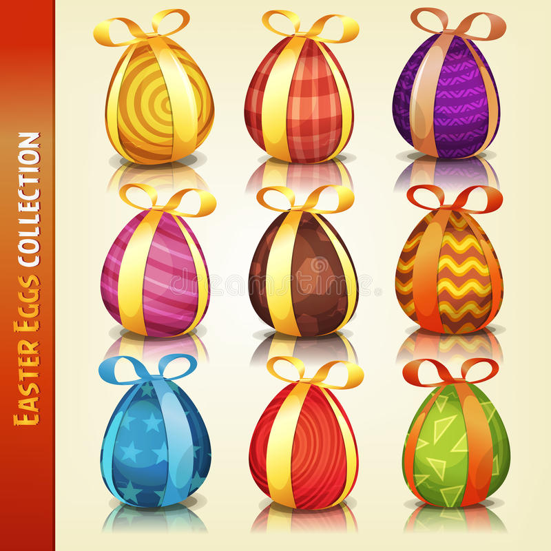 Easter Eggs Collection. Illustration of a set of cartoon appetizing decorated easter eggs, for spring april and march season holidays stock illustration