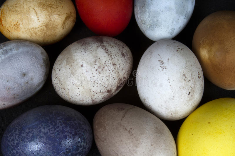 Easter Eggs. Collection of multi-colored easter eggs created using natural dyes stock photography