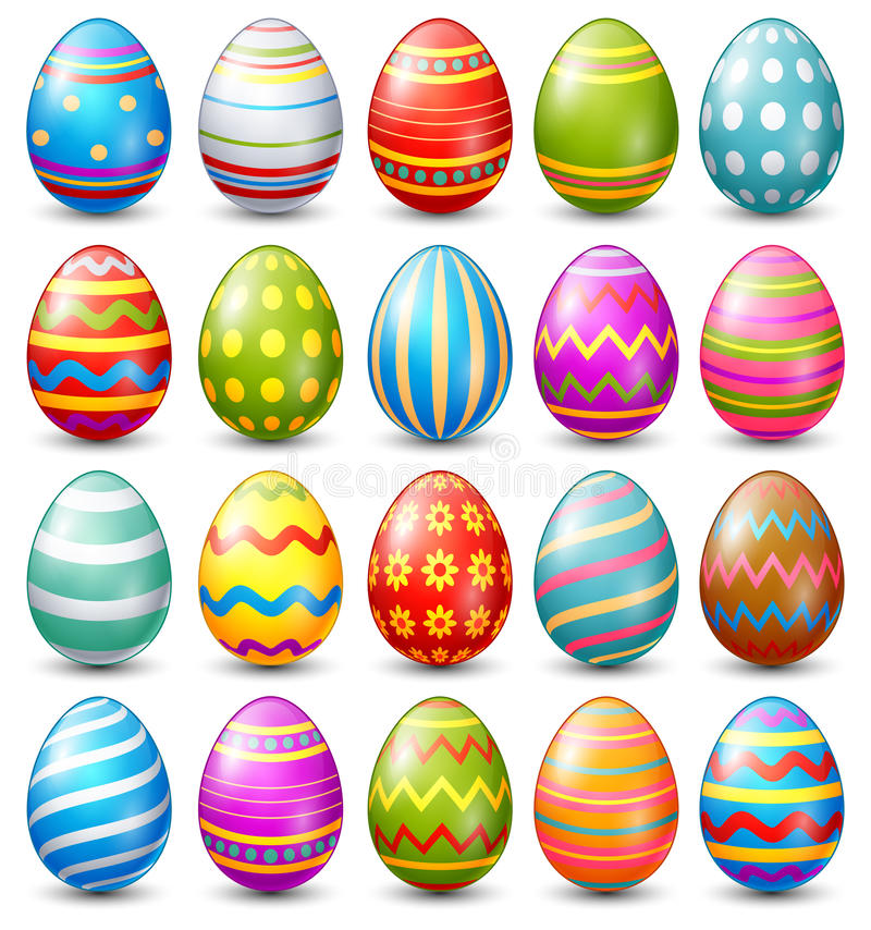 Easter eggs collection on a white background stock illustration