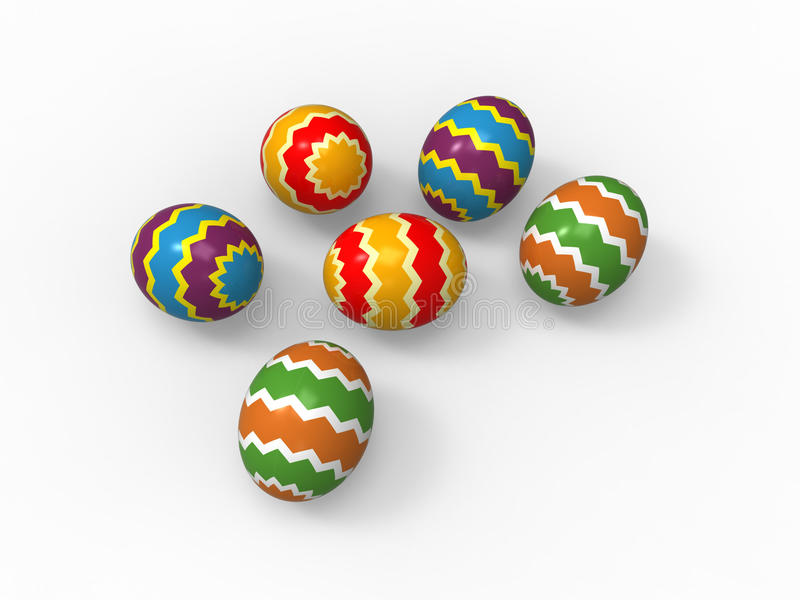 Easter eggs, color pack collection. Color line patterns stock illustration