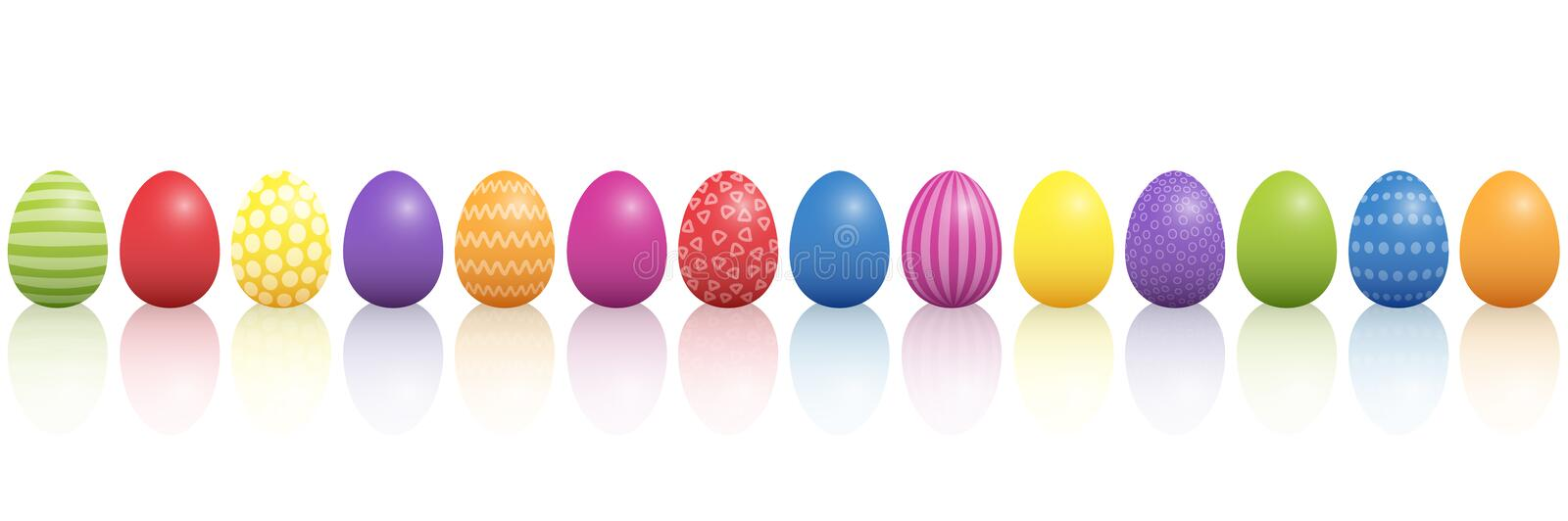 Easter Eggs Colorful Mixture In A Line royalty free illustration
