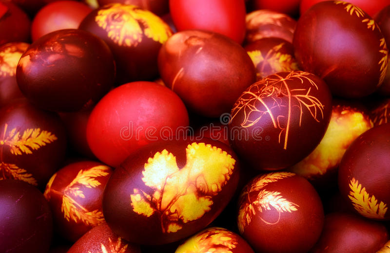 Easter eggs. Colorful easter eggs painted in boiled onion skins