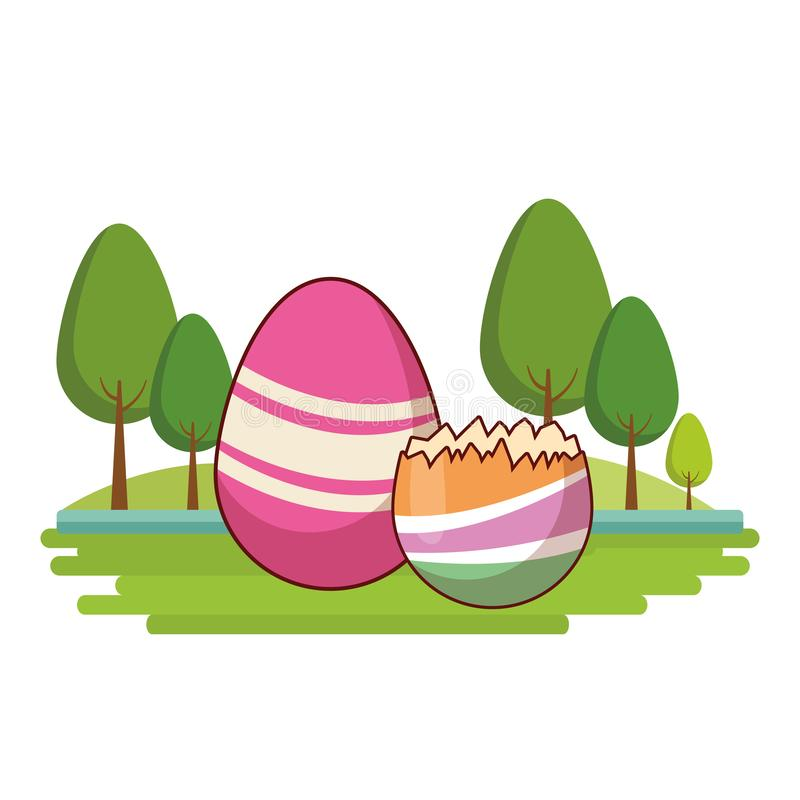 Easter eggs colorful painted nature background trees royalty free illustration