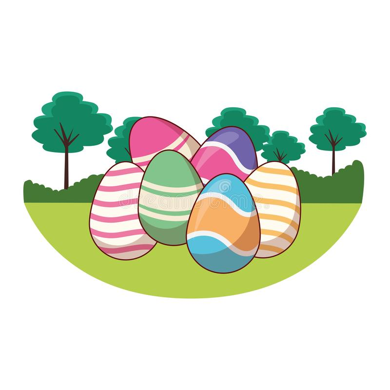 Easter eggs colorful painted nature trees background round frame vector illustration