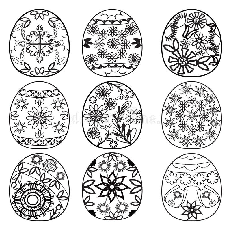 Easter eggs for coloring book vector illustration