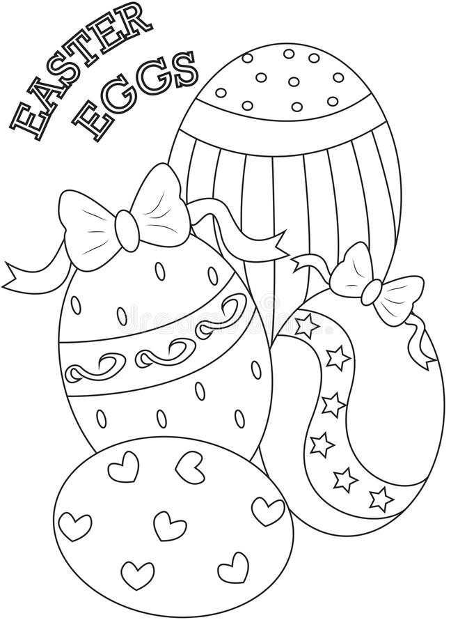 easter eggs coloring page stock illustration