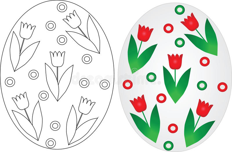 Easter eggs coloring pages set royalty free illustration