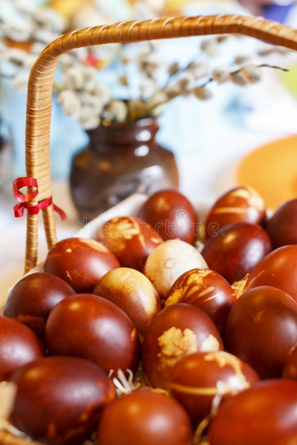 Traditionally natural coloured brown easter eggs royalty free stock photos