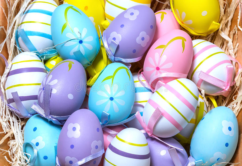 Download Easter Eggs stock photo. Image of basket, texture, decoration - 86620242