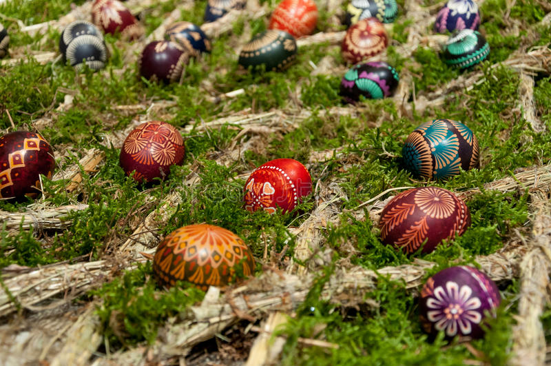 Easter eggs composition stock images