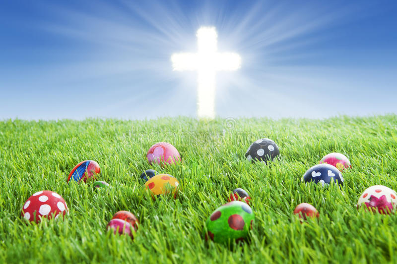 Download Easter Eggs And Cross On Grass Stock Illustration - Image: 29033403