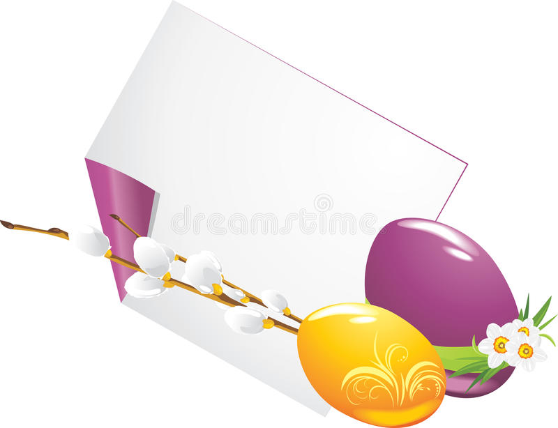 Download Easter Eggs And Curled Page With Willow Branch Royalty Free Stock Photo - Image: 24070385