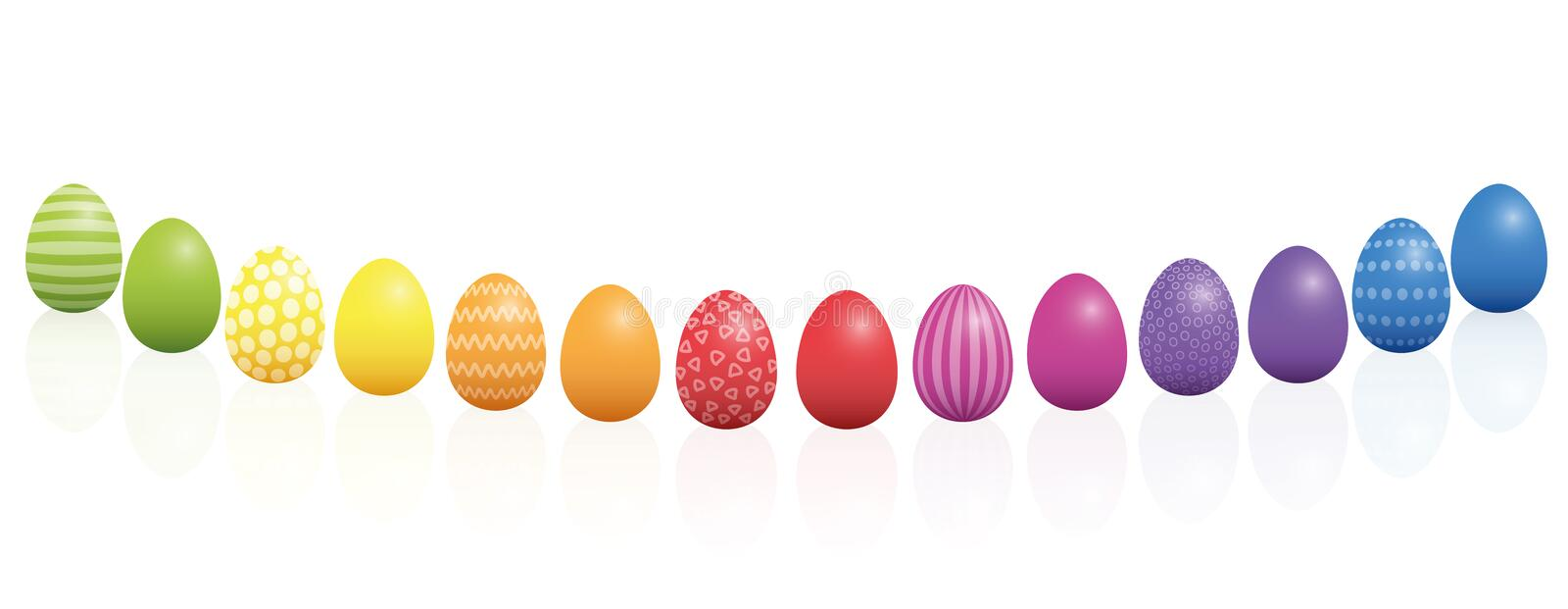 Easter Eggs Pattern Rainbow Colored Curved Line royalty free illustration