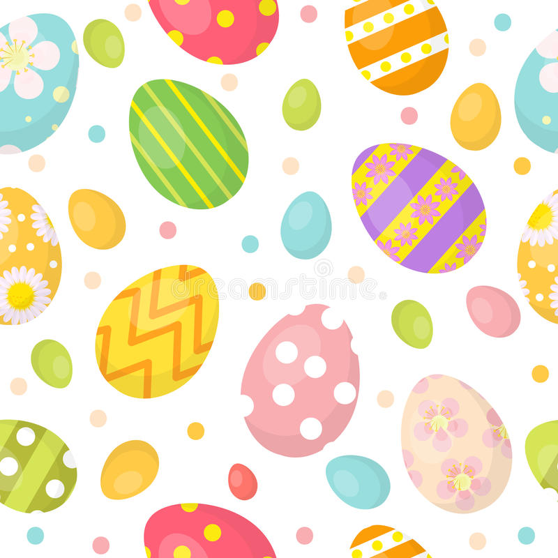 Easter eggs cute seamless pattern, endless backdrop. Colorful background, texture, digital paper. Vector illustration. royalty free illustration