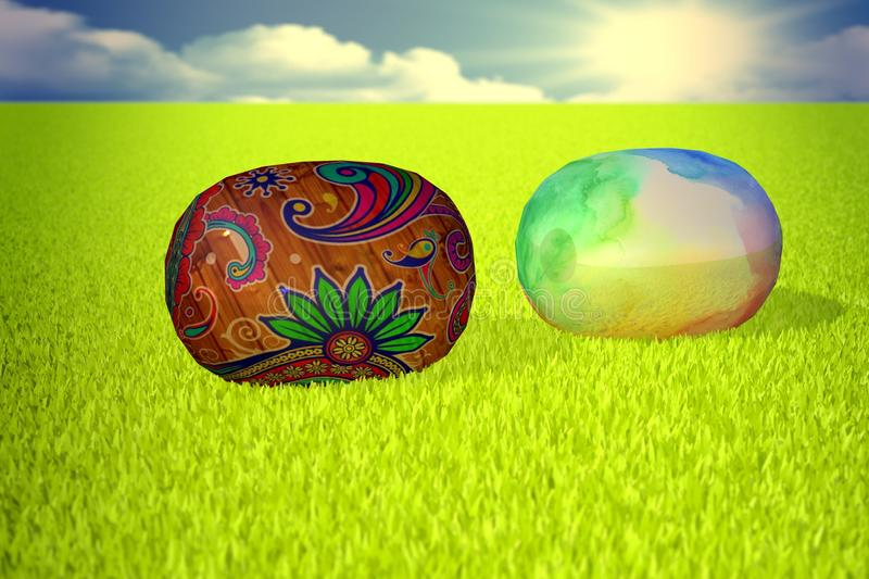 Easter eggs 3d royalty free stock photo