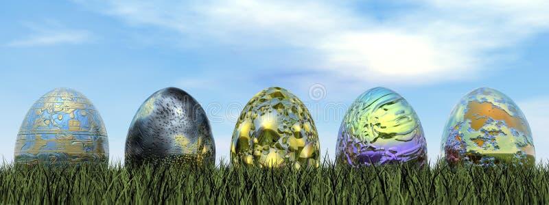 Easter eggs - 3D render stock illustration