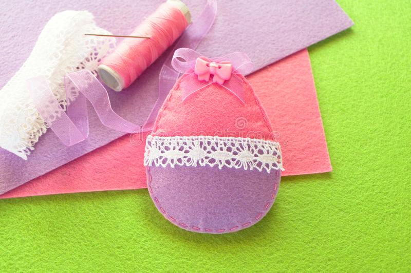 Making felt Easter egg decoration, handmade decor. Step. DIY felt Easter egg ornament. Sewing for children stock photos