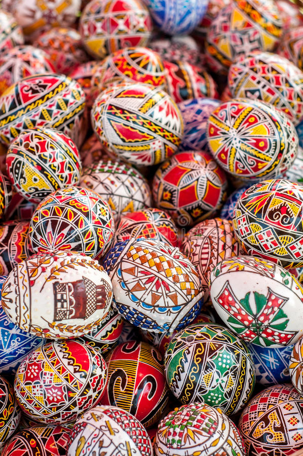 Easter eggs. Decorated Easter eggs. Beautiful, colorful traditional Romanian handcrafted easter eggs. Folklore stock images