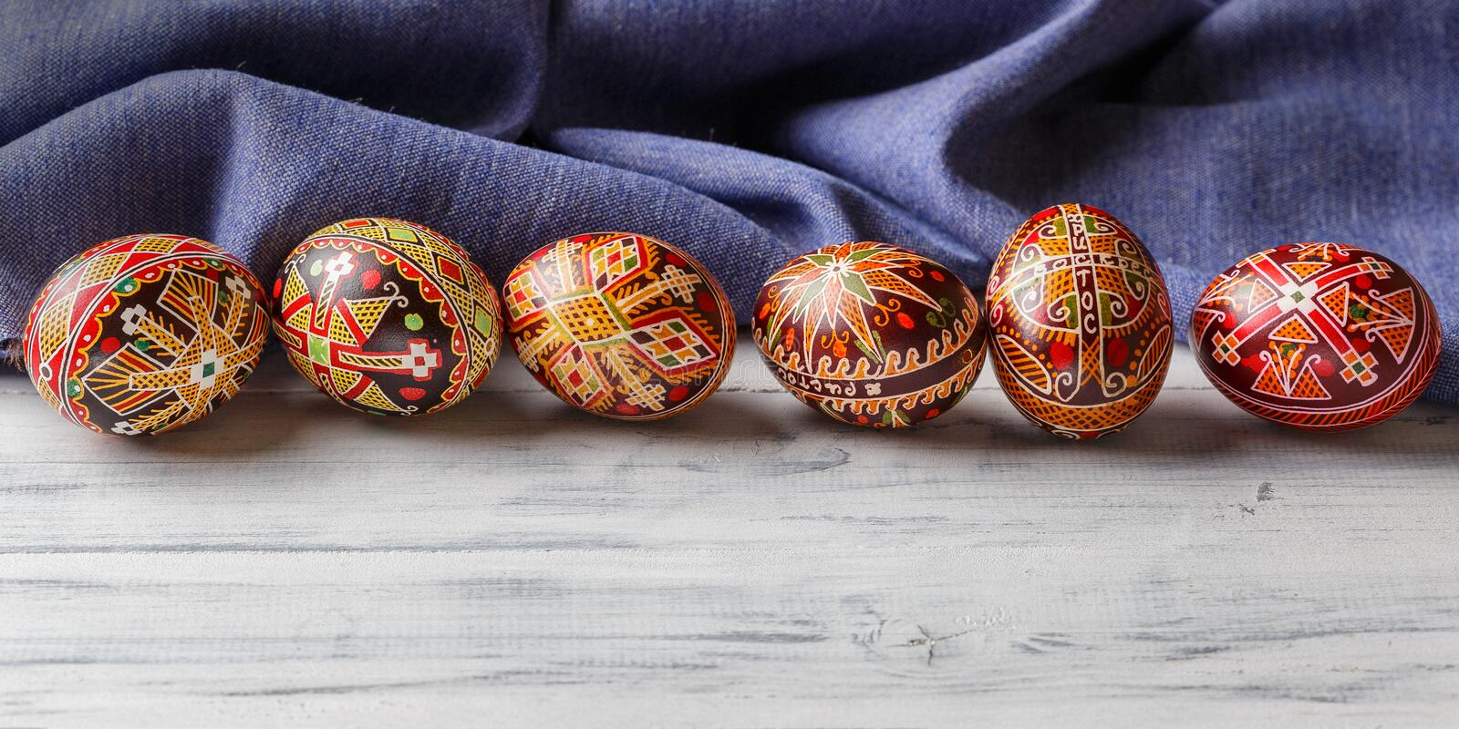 Easter eggs decorated with wax resist technique. Pysanky, Ukrainian Easter eggs decorated with wax-resist dyeing technique, traditional for Eastern European stock photos