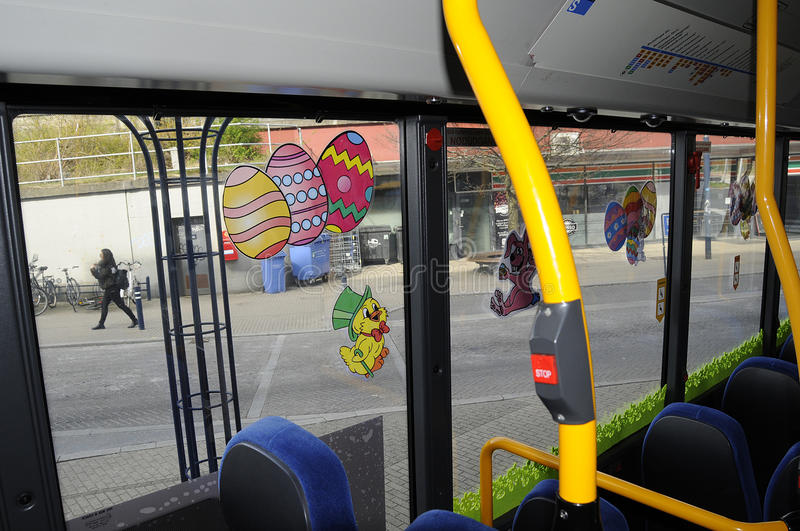 EASTER EGGS DECORATION IN BUS ROUTE NR 250S stock photos