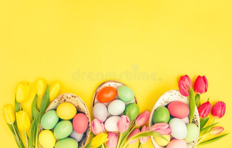 Easter eggs decoration colorful tulip flowers vintage royalty free stock images