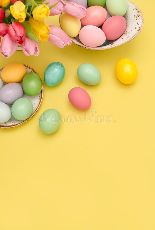 Easter eggs decoration colorful tulip flowers royalty free stock images