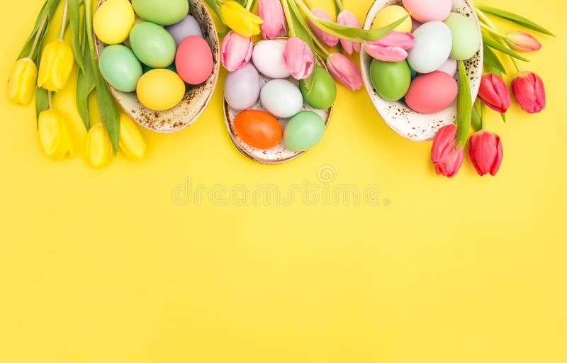 Easter eggs decoration colorful tulip flowers royalty free stock image