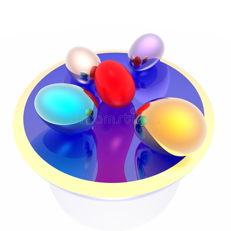 Download Easter eggs on a dish stock illustration. Image of food - 7290764