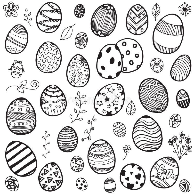 Easter eggs doodle. Vector set of doodle easter eggs on white background royalty free illustration