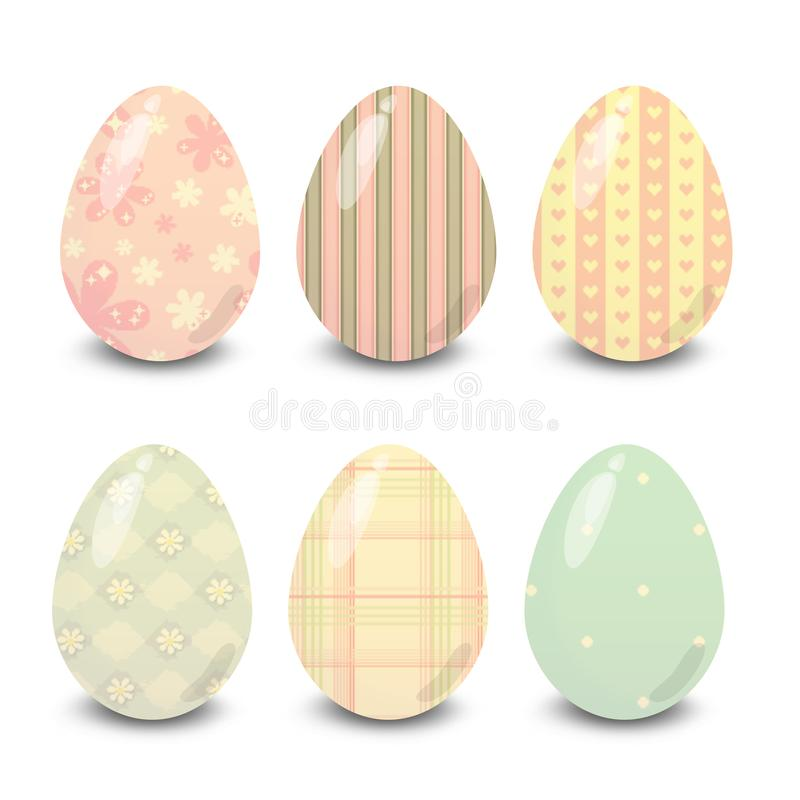 Easter eggs dots stripes hearts with white background. Easter eggs. Illustration isolated with background easter eggs with ornament, element for design royalty free illustration