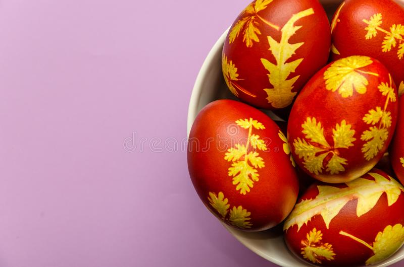 Easter eggs dyed with onion peels with a pattern of fresh leaves of plants in a white bowl on a light purple background royalty free stock photography