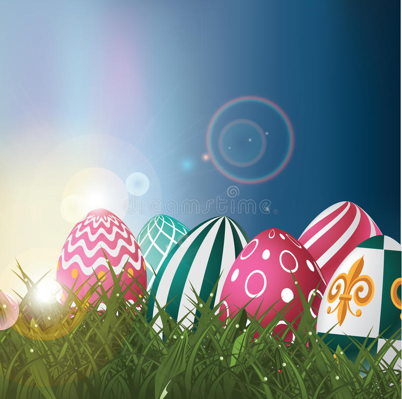 Easter eggs in field at sunrise background royalty free EPS 10 vector vector illustration