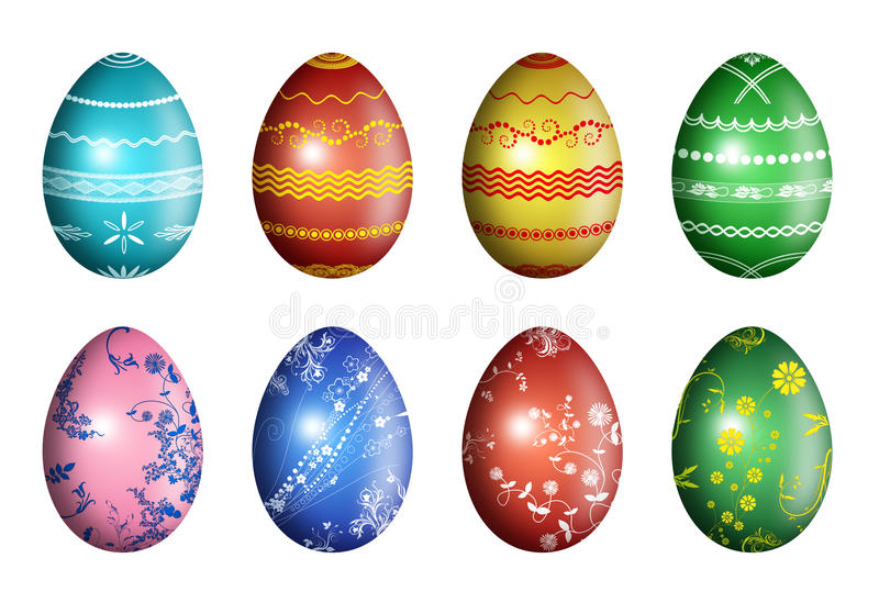 Easter eggs with floral and geometrical ornament royalty free stock photography