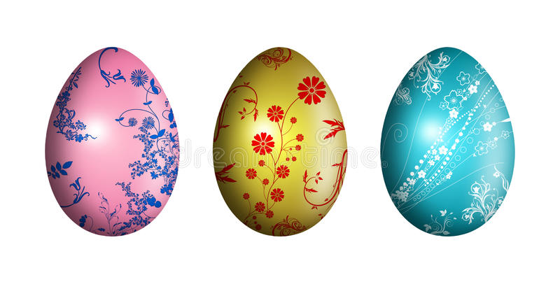 Easter eggs with floral ornament - illustration royalty free stock images