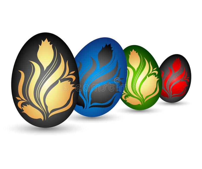 Easter eggs with flowers royalty free illustration